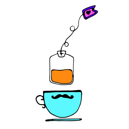 vector pairs brew tea kettle drops stylized Illustration
