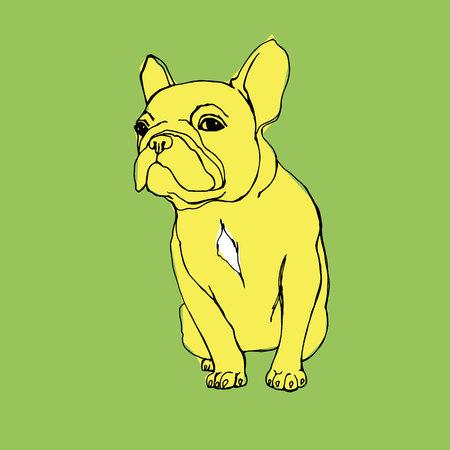 black haired: dog vector breed cute pet animal bulldog Illustration