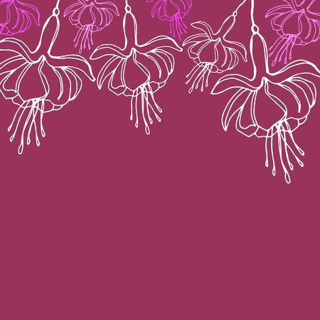 vector graphic illustration pink fuchsia flowers pattern