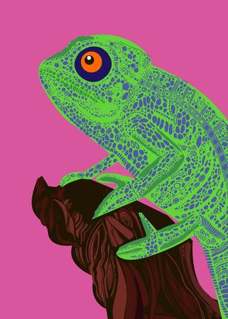 Camaleón lagarto dibujo gráficos en color detalles rama Foto de archivo - 74740190