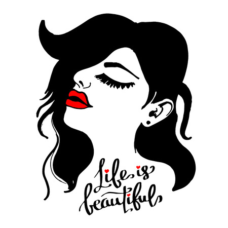 beauty, beautiful, hair, vector, girl, portrait, young Illustration