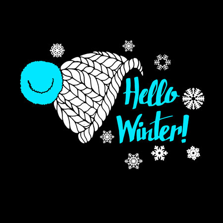 ski wear: winter, text, hello, banner, greeting, background, calligraphy