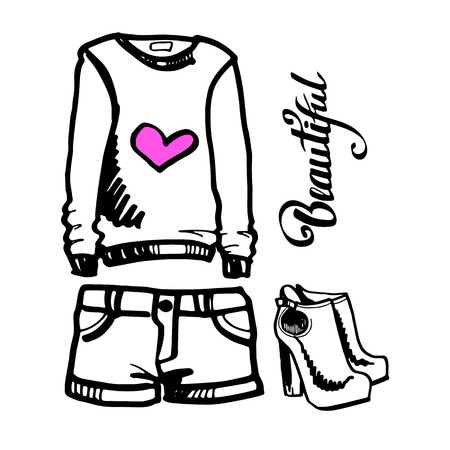 clothing, fashion, illustration, vector, pants, graphic, wear, shorts, sport, male Illustration