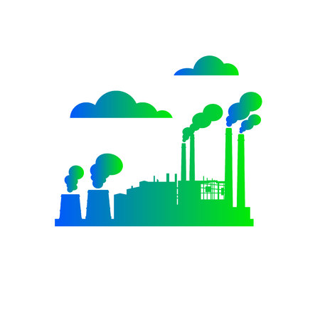 plant, vector, icon, factory, illustration, design, building, industrial, set, industry Illustration