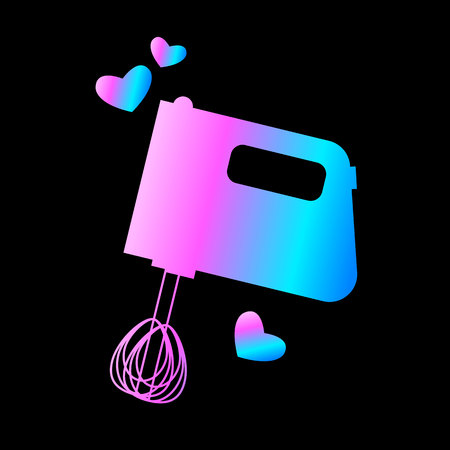 i like: hand mixer icon or button in flat style with long shadow