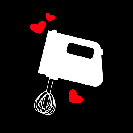 hand mixer icon or button in flat style with long shadow