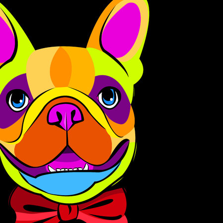 caras pintadas: bulldog, dog, animal, french, vector, illustration, pet, breed, cute, drawing, puppy