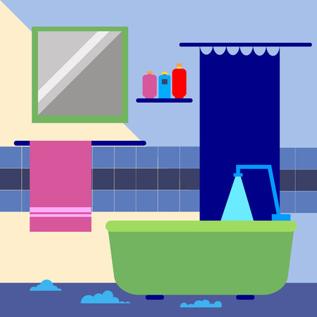 bathroom, vector, interior, wall, shower, decoration, toilet Illustration