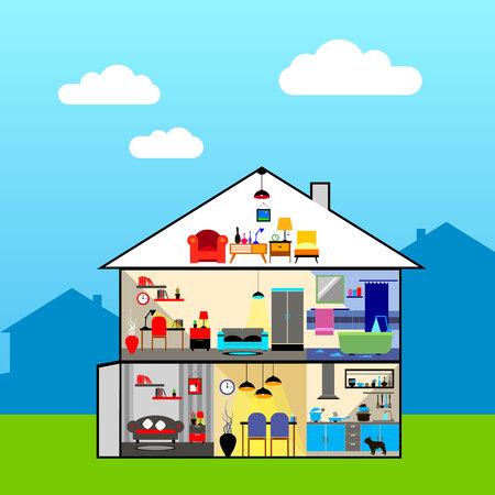 Casa in taglio. Dettagli interni moderni della casa. Camere con mobili. Illustrazione vettoriale di stile piatto.