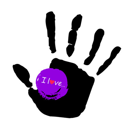 vector color hand handprint human print symbol Illustration