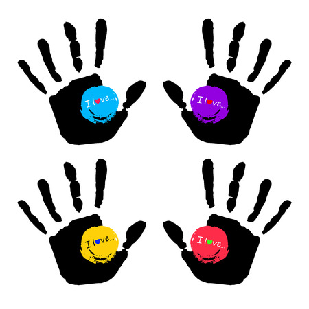 vector color hand handprint human print symbol Illustration