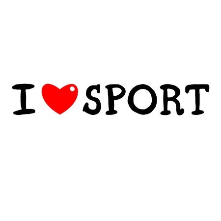 inscription I love sports. Painted inscription with heart