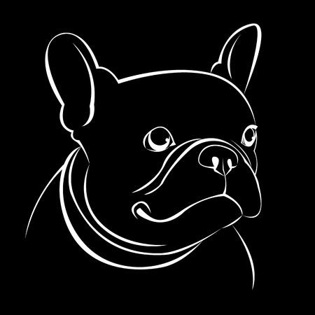 black haired: dog, vector, breed, cute, pet, animal, bulldog, french, french bulldog
