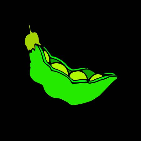 illustration, food, pea, pod, green, vector, organic, healthy, ingredient