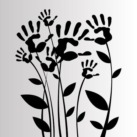 linearity: vector color hand handprint linearity silhouette leaves