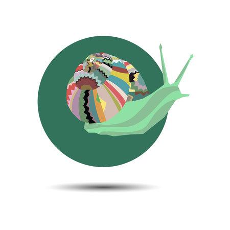 Vector ornament snail creeping grass cartoon graphic Illustration