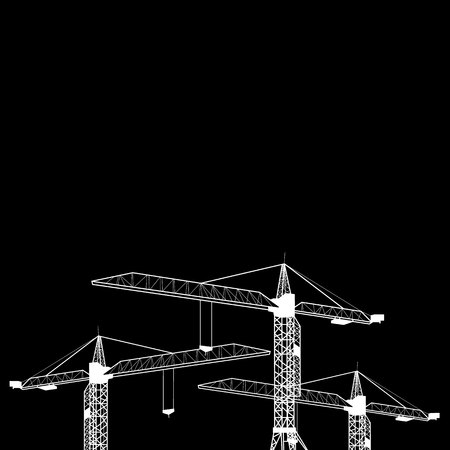 Vector construction crane silhouette industry illustration architecture Illustration