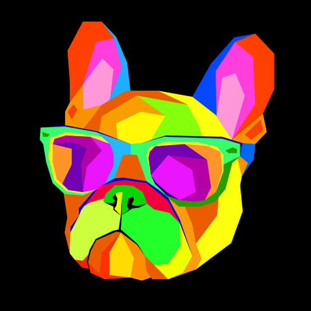 French Bulldog. Print on clothes. Cute puppy. French Bulldog hand made. Illustration