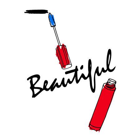 Mascara brush icon. makeup design. Mascara with brush isolated on white background.