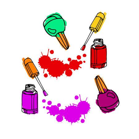 nail polish. nail polish drawing. vector nail art concept illustration. element for glamour beauty salon logo. Illustration
