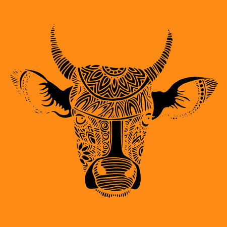 Silhouette of a cow with patterns and ethnic ornaments, ornaments of ancient tribes and peoples of India. Illustration