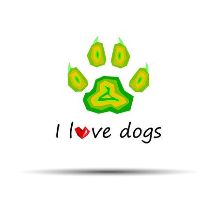 impression: dog footprint print paw foot shape illustration pet animal heart