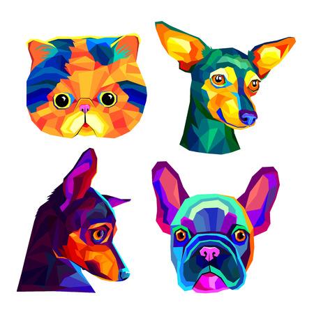 cat animal contour drawing creative dog vector breed cute pet animal bulldog