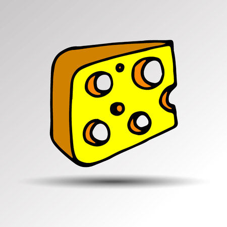 Triangular piece of cheese. Vector. Pieces of cheese on white background