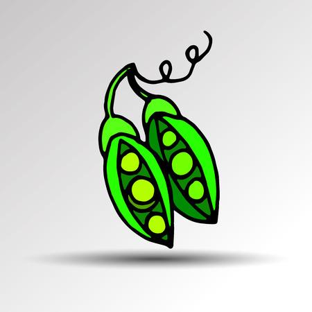 illustration food pea pod green vector organic healthy ingredient vegetarian Illustration