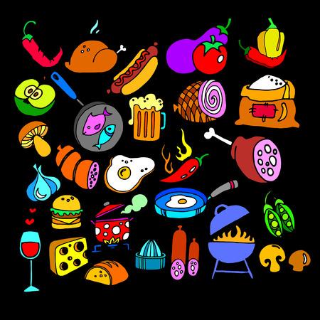 food sweet illustration vegetable pepper vector fruit carrot donut fish Illustration
