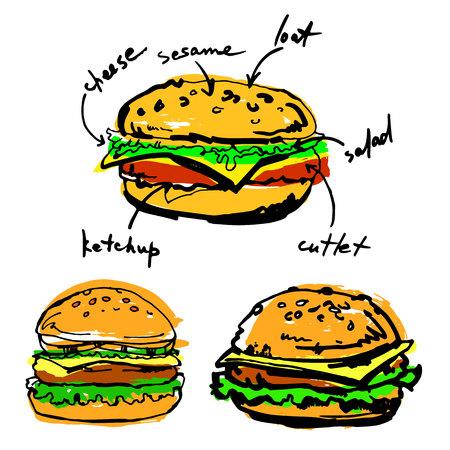 delectable: vector beef illustration hamburger sandwich cheese cheeseburger