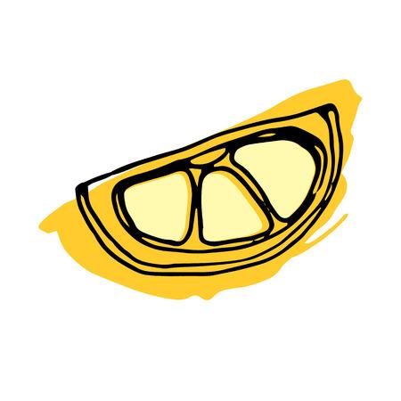lemon, food, fruit, citrus, orange, vector, yellow, fresh, ripe, slice