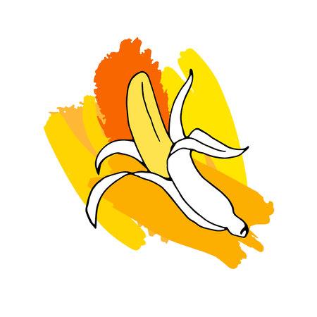 banana, illustration, fresh, fruit, food, ripe, yellow