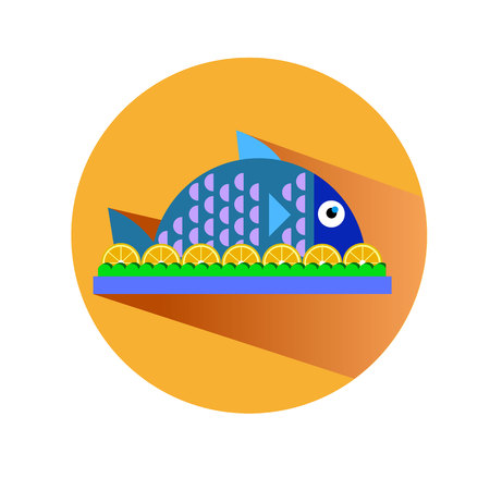 delectable: fish food vector dinner dish plate meal