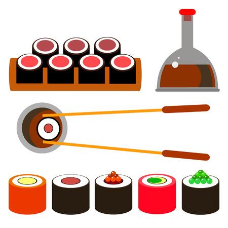 food illustration seafood sushi vector fish rice