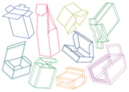 box vector set shape illustration  package carton