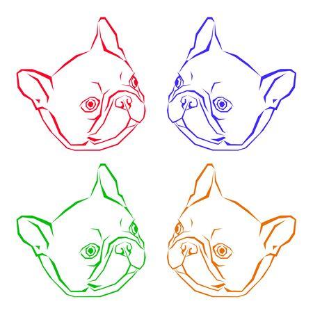 フランスの犬のベクトルの品種のかわいいペット動物ブルドッグ 写真素材 - 75085001