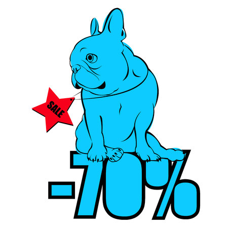 black haired: Dog vector breed cute pet animal bulldog french. Sale poster. Discount vector. Discount label. Discount coupon.
