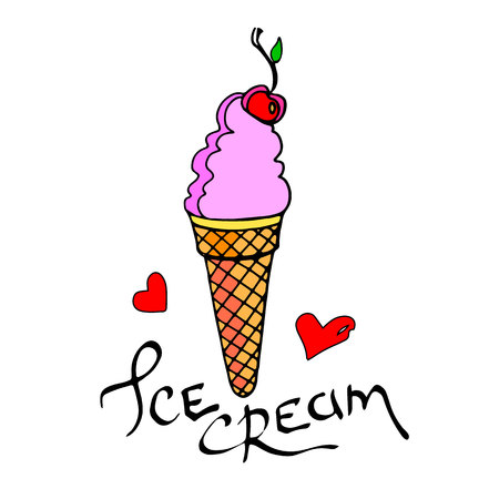 ice cone snack summer cold dessert lettering calligraphy