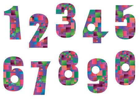 three colored: number design symbol numeral school sign Illustration
