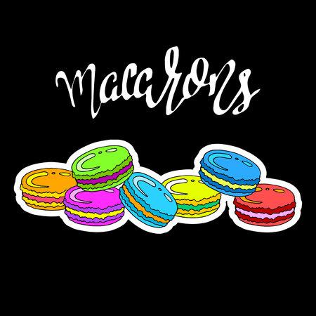甘い、マカロン、デザート、料理、イラスト、背景、フランス、カラフルなお菓子