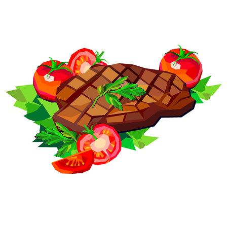 steak beef vector meat food meal dinner grill roast