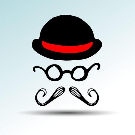 whisker, facial, mustache, vector, black, illustration, retro, face, hair, style hat