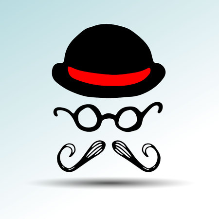 whisker, facial, mustache, vector, black, illustration, retro, face, hair, style hat