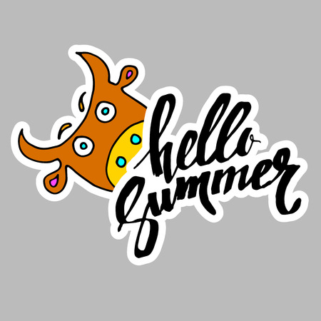 summer, calligraphy, cow, funny animal, hand, graphic, illustration
