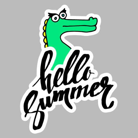summer, calligraphy, crocodile, funny animal, hand, graphic, illustration