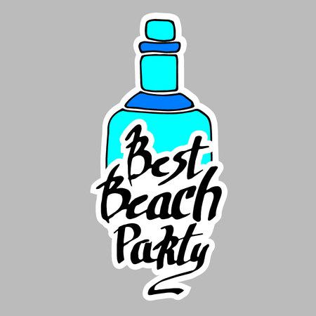 summer, calligraphy, bottle, funny animal, hand, graphic, illustration