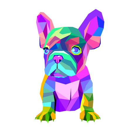 dog vector breed cute pet animal bulldog french Ilustração