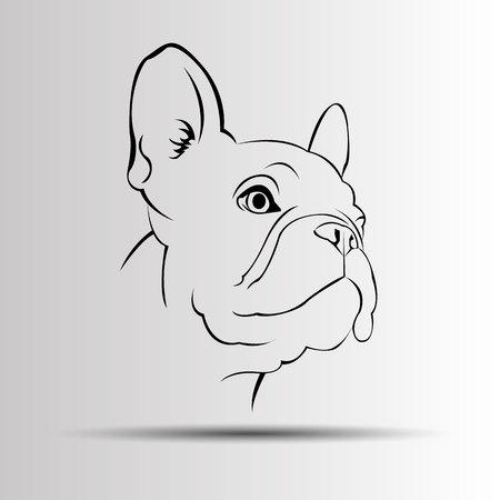 Cane vettore razza simpatico animale da compagnia bulldog francese Archivio Fotografico - 74970666