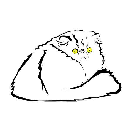 interesting: cat, animal, contour, drawing, creative, blue, image, kitten, line Illustration